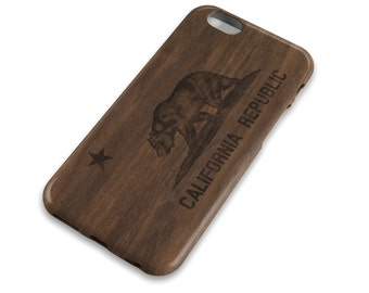 California Flag Wood Grain Cell Phone Case, Oak Stain, Los Angeles, San Francisco, Surfer, CA Flag Bear, Apple iphone, Samsung Galaxy, Note