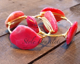 Wire Wrapped Bangle Bracelet | Pink Agate Wire Bracelet | Wire Bangle | Wire Wrapped Bangle | Pink Stone Bracelet