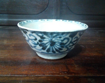 19 century green flower pattern bowl
