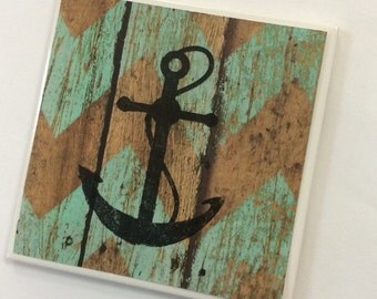 Rustic Anchor Coasters-Chevron Coasters-Turquoise and Wood Grain Coasters
