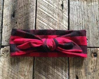 Red & Black Buffalo Checker Headband