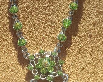 "Silver Tone, Green Austriam Swarovski Crystal Victorian Revival Chain Necklace ""VCLM""1970'S."
