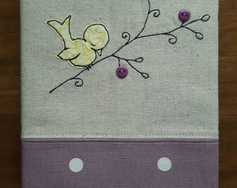 Bird applique fabric covered A5 notebook - journal - diary - planner - sketchbook cover using free motion embroidery GBP 11.50
