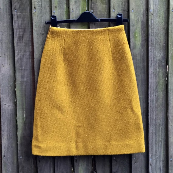 vintage 60 s mod mini skirt mustard yellow a line