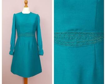 1960's  Vintage Turquoise A Line Evening Dress