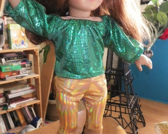 Slinky Lizard Party Top Satin Long Kimono-Sleeved Top for 18-inch Dolls