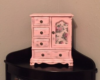 Refurbished Vintage Jewelry Box - Pink