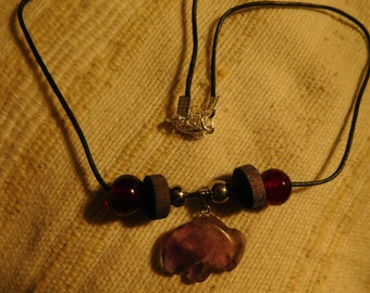 Beaded Black Cord Necklace with Purple Stone Charm