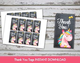 Unicorn Thank you Tags Unicorn Favour Labels Unicorn Thank You Labels Unicorn Treat Bags Tags Unicorn Favor INSTANT DOWNLAOD
