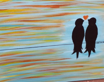 Love Birds on a Wire, turquoise