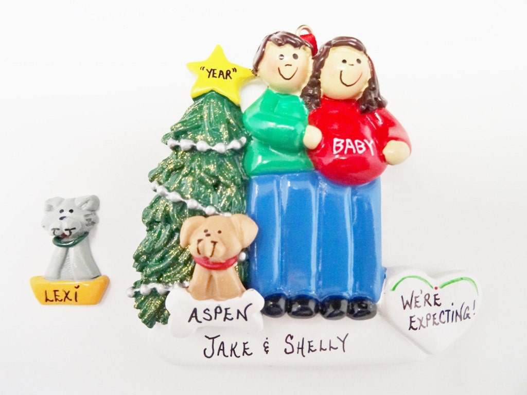 Expecting Couple Ornament with Dog or Cat Added Expecting