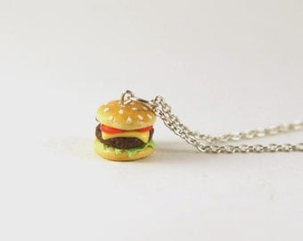 Cheeseburger Necklace Charm, Miniature Food Jewelry, Hamburger Necklace, Polymer Clay Food Jewelry, Burger Charm, Food Charm, Kawaii Burger
