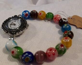 Multi Colored Millefiori Beaded Quartz Watch Bracelet