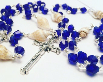 Catholic Rosary.  Ocean Theme Rosary.  Prayer beads. Rosary Beads. Rosary Necklace. Seashell Rosary. Cobalt Blue Rosary. Men's Rosary. Lady