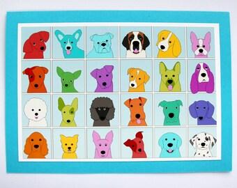 Dog lovers card Dog birthday card Dog breeds card dog art Cute Colorful dogs Card Pet Lover