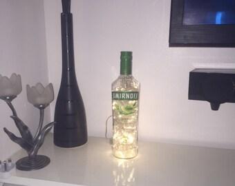 Vodka lime bottle light 100 leds, led lighting, night light, man cave, home decor, bedside lamp, table lamp, bar lamp, led lamp