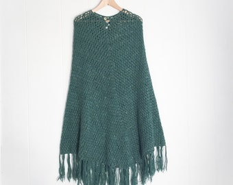 Vintage Poncho - Knit Poncho - Womens Ponchos - Boho Clothing - Olive Green - Wool Poncho - Long - Bohemian - Womens Crochet Knitted Tassel