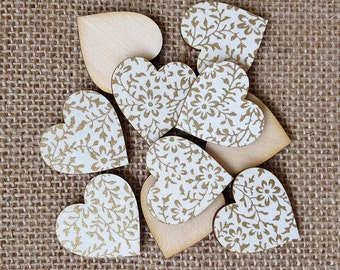 White and Gold Mini Wooden Hearts Table Confetti, Table Confetti, Wedding Decorations, Table Decorations, Craft Supplies, Wooden Hearts