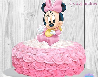 Baby Minnie Mouse Cake Topper, Baby Shower Cake Topper, Diaper Cake Topper PRINTABLE, You Print