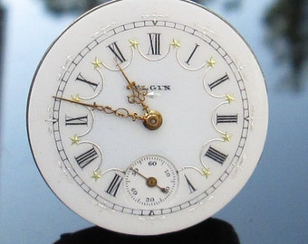 Rare Antique Elgin Pocket watch movement with fancy dial and hands, (#EELG)