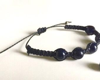 Blue Sandstone Beaded rose gold adjustable Bracelet BLACK