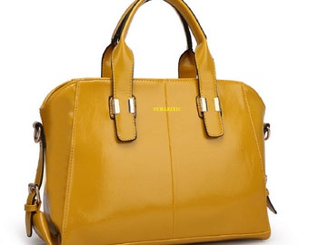 Sybaritic Vanilla Patent Leather Medium Satchel