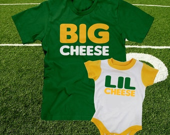 big cheese lil cheese father and son cheesehead t-shirt set combo tshirt gifts for dads wisconsin green bay packers baby babies infant 6 12