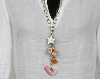 Long star Necklace with ceramic. Extra long necklace. Pink necklace. Boho Jewelry. Fashion necklace. Everyday necklace. Free shipping.