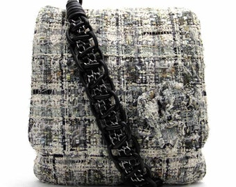 Chanel Blue & Grey Checked Pattern Tweed Camellia Shoulder Strap Bag
