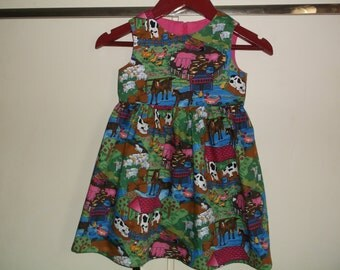 Cerise farmyard dress