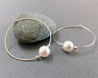Large sterling silver crystal pearl hoop, Thin single pearl hoop earrings, White pearl earrings, Elegant pearl earrings, Wedding earrings