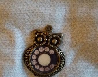 Rotary phone owl pendant