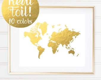 Gold World Map Print, Real Gold Foil Print, Glam Office, Cubicle Decoration, Globe Art, Office Art, Gold Wall Art, Nursery Print, Home Decor