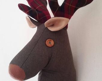 Fabric deer head faux taxidermy stuffed animal head Reindeer Stags head stunning conversation piece