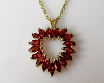 Large 9ct Gold Garnet Heart Pendant and Chain