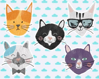 cat face meow Sticker Pack
