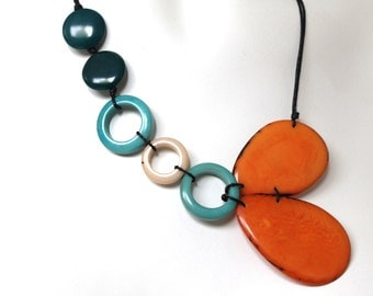 tagua nut jewelry, orange necklace, statement necklace, stocking stuffers,  boho jewelry, fair trade jewelry, bold necklace, beaded necklace