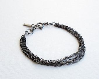 Multistrand Chain Bracelet, Link Chain Bracelet, Layering Bracelet, Silver Bangle Bracelet, Oxidized Silver Bracelet, Woven Chain Bracelet.