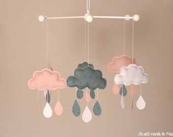Mobile clouds in blue white pink satin fabrics