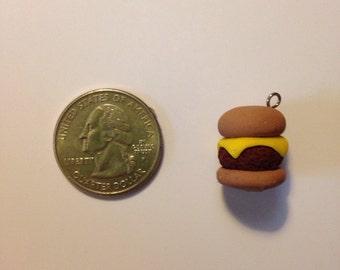 handmade cheese burger clay charm