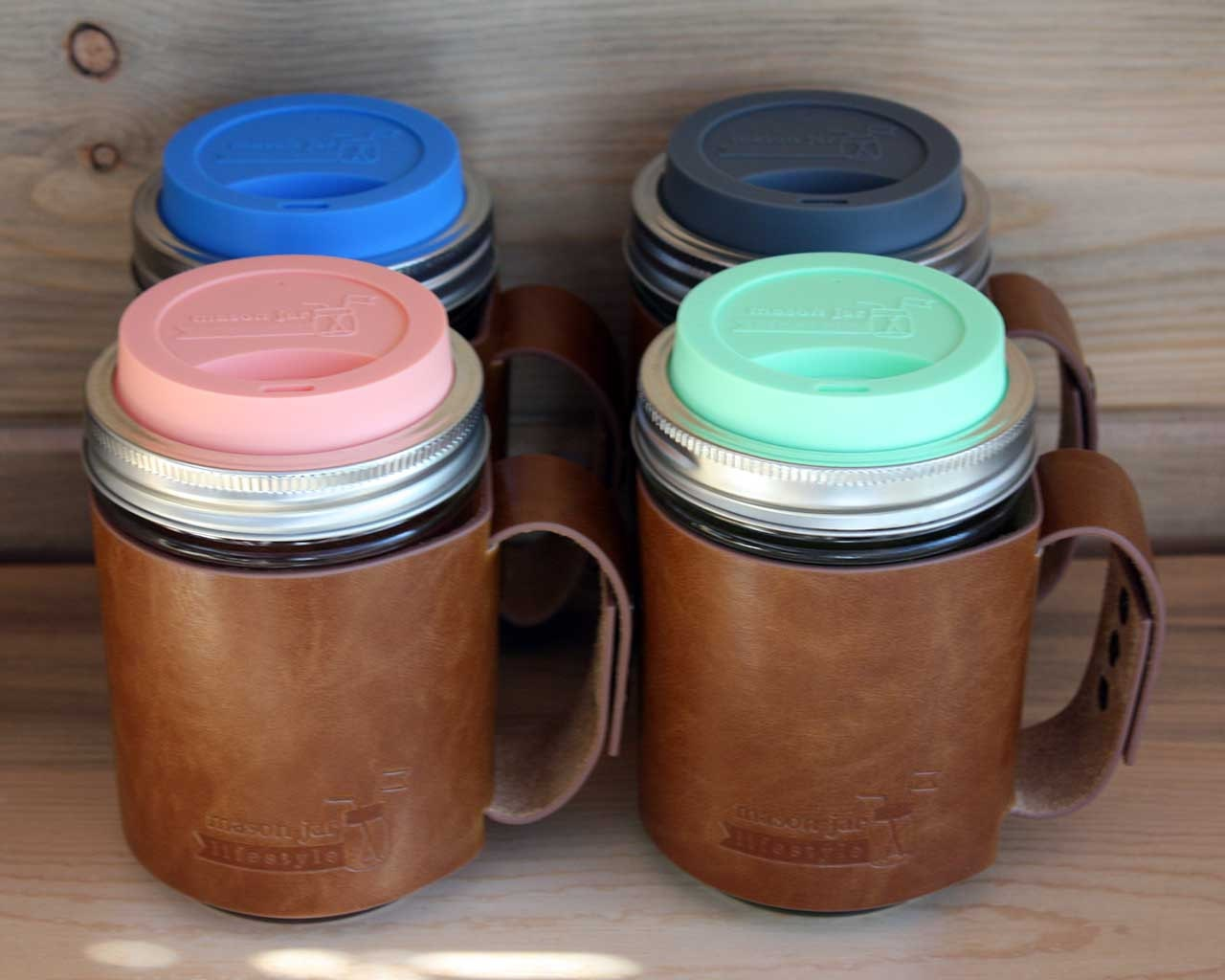 Faux Leather Sleeve With Handle For Wide Mouth Pint Mason Jars