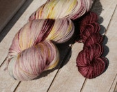 Hand dyed speckled sock yarn with toes and heels in solid mini skein, Hand dyed speckled yarn, ASU socks Maroon and gold speckled sock yarn,