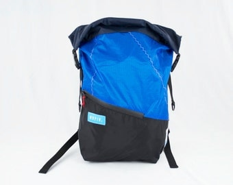 Tour Pack - Reuse Recycle Sails Blue Urban Backpack, Desing Stilish, Outdoors, Water resistant, Made in USA, Unique, One of a Kind