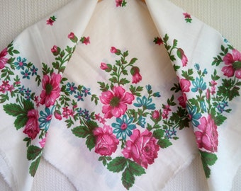 Floral white cotton scarf, Russian Scarf , russian cotton shawl with roses, white russian shawl