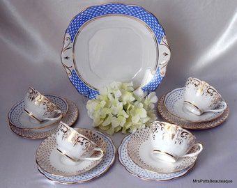 Blue & Gold, Mix and Match Bone China for Four, Gaisborough and Queen Anne, c 1950 s