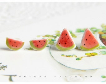 Watermelon Ear Studs,Fruit Earrings, Red Earring Jewelry,Summer Earrings,Polymer clay,Adorable gifts for her,triangle studs,Small Ear Stud
