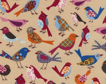 SALE 7.99 Yard - REG 9.95 Yard - Timeless Treasure Fabric Cute Multicolored Bird Pattern on Blue  -  Novelty - Folklore