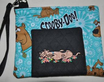 New !  Scooby Doo Fabric - Embroidered Quilted Wristlet - Coin Purse - Cell Phone Bag