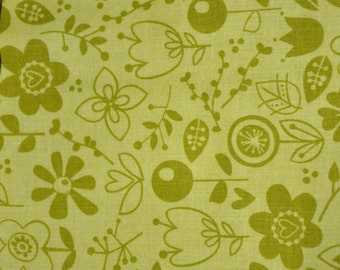 """LAST ONE!  28"""" x 44"""" wide Riley Black Designs Green Happy Skies for Bella 100% Cotton Quilt Fabric"""