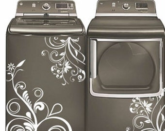 Floral Washer Dryer Decal